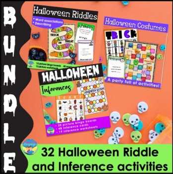 Halloween Inference Bingo Bundle | Picture Activities | Language |  Mixed Groups