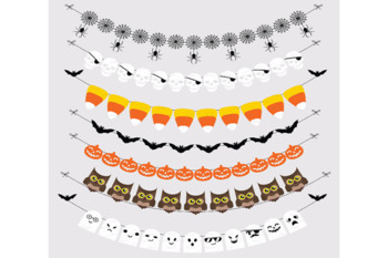 Halloween Bunting Banners Cliparts Pack, Owls, Ghosts, Bats, Pumpkin