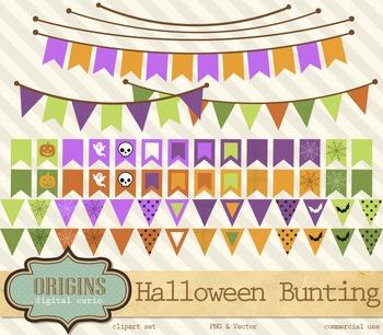 Halloween Bunting Banners Vector Clipart Clip Art