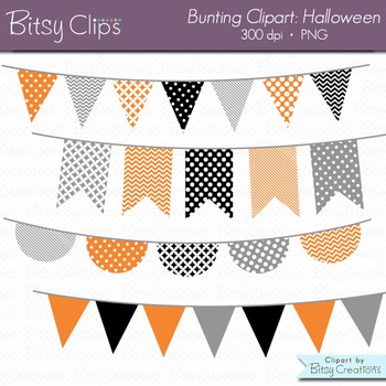 Halloween Bunting Clipart Digital Art Set Black Orange Banner Flag