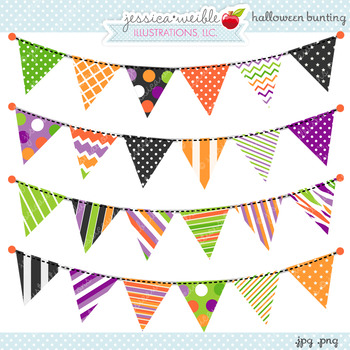 Halloween Bunting Cute Digital Clipart, Halloween Clip Art