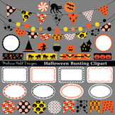 Halloween Bunting Labels Washi Clipart