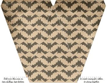 Halloween Bunting - Printable Editable Bats, Plaid, Stripes