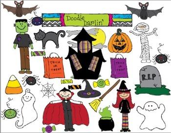 Halloween COLOR Clipart Set
