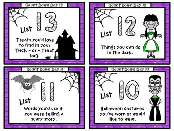 """Halloween """"COUNT""""DOWN Task Cards"""