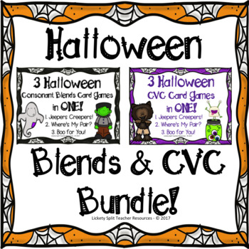 Halloween CVC & Blend Word Games in One! BUNDLE - Literacy Centers