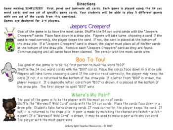Halloween CVC & Blend Word Games Bundle