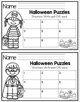 Halloween CVC Puzzles