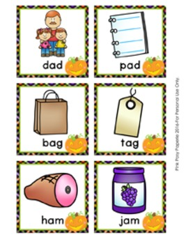 Halloween CVC Rhyming Words Match Game
