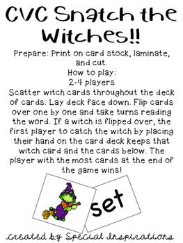 Halloween CVC Snatch Card Games Bundle! Orton-Gillingham Inspired