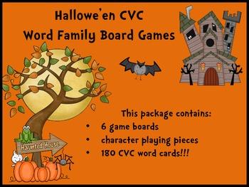 Hallowe'en CVC Word Family Board Games
