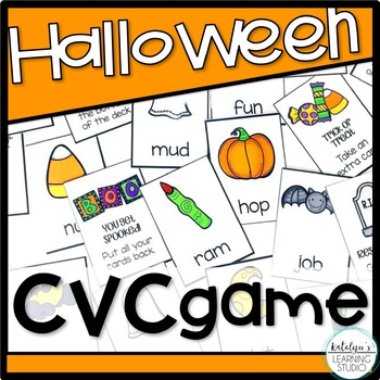 Halloween CVC Words Card Game and Memory Activity