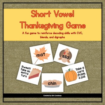 Thanksgiving Short Vowels (CVC, Blends, and Digraphs) Game