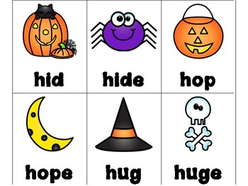 Halloween CVC and CVCe Words Card Games