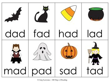 Halloween CVC short a word game for Fluency (Aligned to Core Standards)