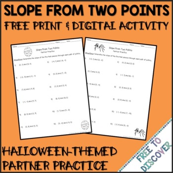 Halloween Calculating Slope from Two Points Partner Practice