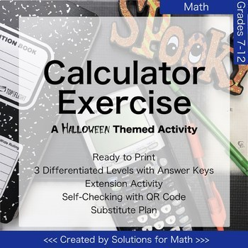 Halloween Calculator Math Activity High School Algebra