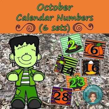 Halloween Calendar Numbers (6 sets) 1-31