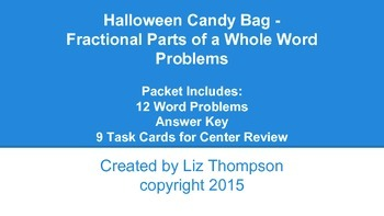 Halloween Candy Bag Fractional Parts of a Whole Word Problems