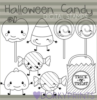 Halloween Candy Black Line Clip Art