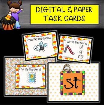 DIGITAL and PAPER Halloween Blends Task Cards