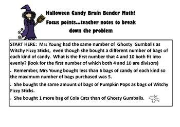 Halloween Math Candy Brain Bender Worded Math Problem For Yrs 5-7