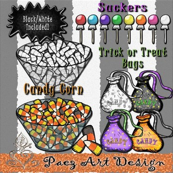Halloween Candy Clipart {Paez Art Design}