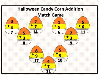 Halloween Candy Corn Addition Math Match Game