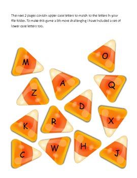 Halloween Candy Corn Alphabet Matching File Folder Game