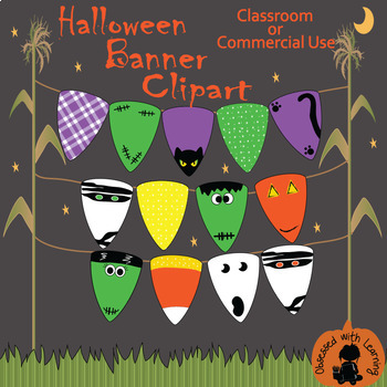 Halloween Candy Corn Assorted Banner Clipart - Classroom or Commercial Use