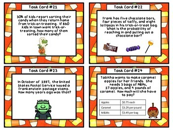 Halloween Candy Corn Calculations-Math Task Cards