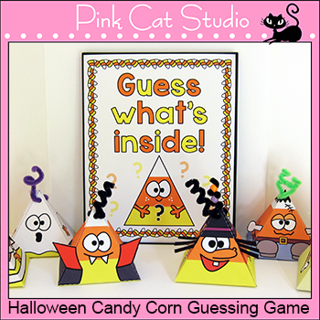 Halloween Activities: Candy Corn Characters Guessing Game and Gift Boxes