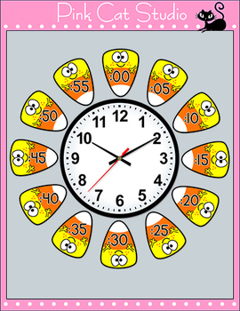 Candy Corn Telling Time Halloween Clock Labels - Halloween Activities