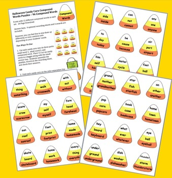 Halloween Activities:  Candy Corn Compound Words Puzzles - 96 Compound Words