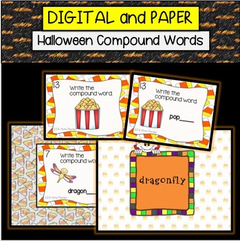 Halloween Candy Corn Compound Words Task Cards