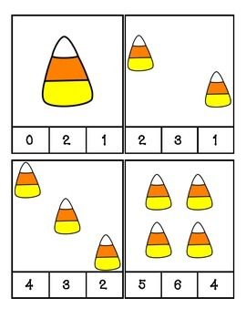 Halloween - Candy Corn - Count and Clip Cards #1-24
