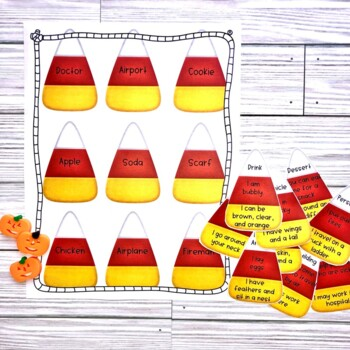 Halloween Candy Corn Descriptions-What Am I?-feature, function, class
