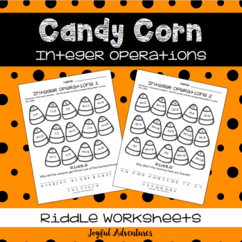 Halloween Candy Corn Integer Operation Riddles