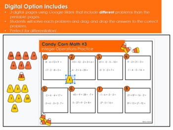 Candy Corn Math: Integer Operation Practice Sheets