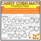 Halloween Integer Order of Operation Practice Worksheets