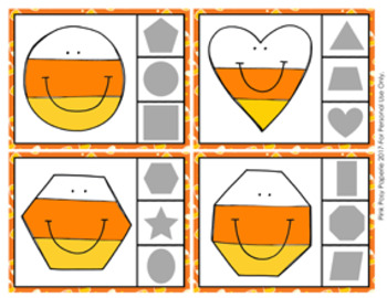 Halloween Candy Corn Shapes Clip Cards