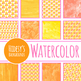 Halloween Candy Corn Yellow and Orange Watercolor Digital Papers / Backgrounds