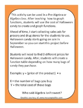 Halloween Candy Function Project for Pre-Algebra or Algebra
