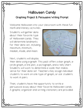 Halloween Candy Graphing Projects & Writing Prompt