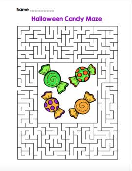 Halloween Candy Maze!  Halloween Maze FUN! (Color and Black Line)