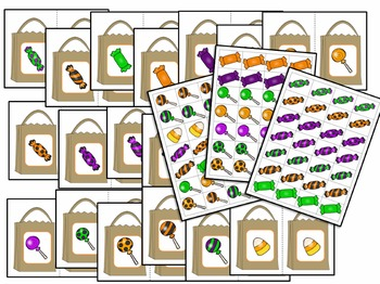 Halloween Candy Pattern Sorting Math Center Activity for Preschool