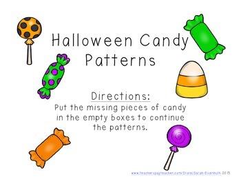 Halloween Candy Patterns File Folder Game