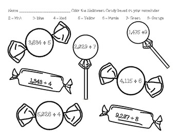Halloween Candy Remainders Coloring Sheet