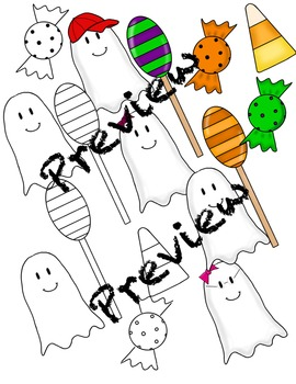 Clip Art : Halloween Candy and Cute Ghost Clip art