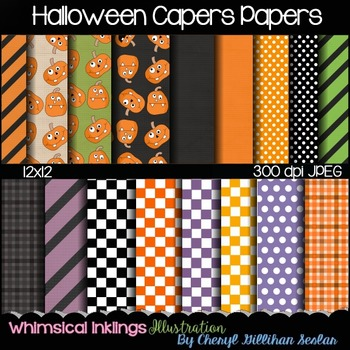 Halloween Capers Digital Papers 12x12